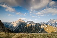 Mt. Gamsjoch, viewed from Ladiz-Joechl, Karwendel Range, Tyrol, Austria, Europe
