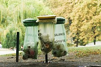 France, Paris, garbage receptacles in park