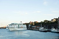 Sweden, Stockholm, Lake Malaren, ferry boat departing from dock