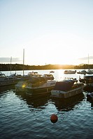 Sweden, Stockholm, Lake Malaren, marina at sunset