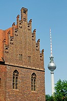 Maerkisches Museum in front of the Fernsehturm, Television Tower, Berlin-Mitte, Berlin, Germany, Europe