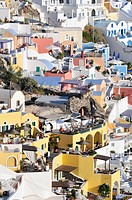 View over the town of Thira, Fira, with typical Cycladic architecture, Santorini, Cyclades, Greece, Europe
