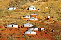 Traditional round huts or rondavels of the Zulu people in in Lalani Valley, Kwazulu-Natal, South Africa