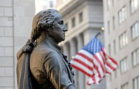 George-Washington-Memorial in front of the Federal Hall with American flag, Wall Street, Financial District, Manhattan, New York City, New York, USA