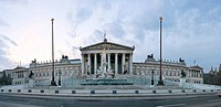 Panorma of Parliament on Ringstrasse with cloudy sky, Vienna, Austria, Europe