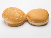 Two hamburger buns with and without sesame seeds