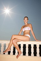Sitting, woman, young, bikini, parapet, sun, back light, ,