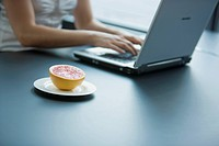 female employee working with laptop computer grapefruit on plate beside her