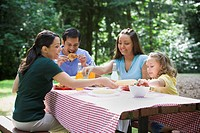 Hispanic family eating at picnic table