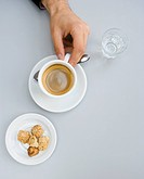 High angle view of coffee and cookies at restaurant