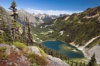 Mountain lake in glacial cirque, North Cascades National Park