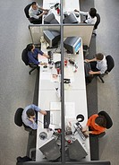 High angle view of businesspeople working