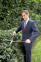 Hispanic businessman trimming hedges