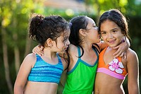 Group of Hispanic girls in bathing suits