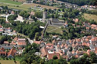 Aerial view of old ruins of castle in town, Pappenheim, Franconia, Bavaria, Germany
