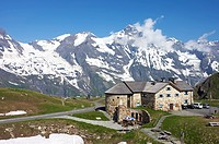 High angle view of building with mountain range in background, Grossglockner, Hohe Tauern, Alps, Hohe Tauern National Park, Salzburg, Austria
