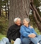 Senior Asian couple smiling and hugging outdoors