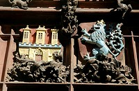 Prague Czech Republic, the city's coat-of-arms, on the Kriz House facade, at the Staromestska radnice