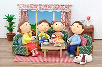 Illustration of family teatime