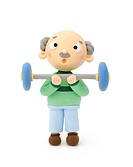 Illustration of grandfather with barbell