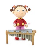 Illustration of a girl playing the musical instrument (thumbnail)