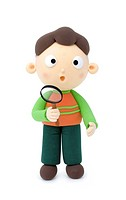 Illustration of a boy wiht magnifing glass