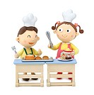 Illustration of a boy and a girl cooking