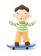 Illustration of a boy on the skateboard