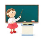Illustration of teacher in front of the blackboard