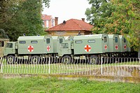 Serbia, Nis, September 2008 Situated outside the Skull Tower monument commemorating the battle of Cegar you find this Red Cross trucks