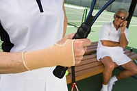 Tennis player wearing wristband