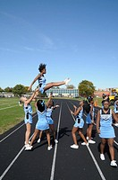 Cheerleaders at a football game in Greenbelt, Maryland