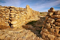 Walls main entrance, 4500 year old remains of Los Millares settlement. Almeria province, Andalusia, Spain