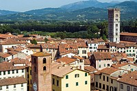 View of Lucca from Torre Guinigi, Lucca. Tuscany, Italy