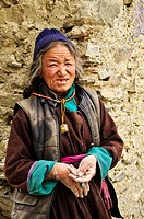 A buddhist woman at Lama Yuru, Ladakh, India