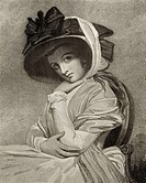 Emma, Lady Hamilton,1761 -1815 mistress of Lord Horatio Nelson From the stipple engraving by John Jones after George Romney, 1785 From The Print-Colle...