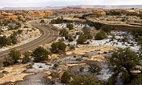 The scenic drive through the Needles District of Canyonlands National Park reveals views of mesas, canyons and sandstone spires