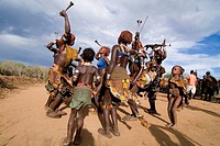 Women´s dance, ceremony of initiation called ´bull jumping´, Hammere ethnic group. Turmi, Ethiopia