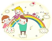 Children playing on rainbow