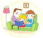 Family sitting on sofa