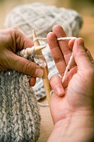 Showing the 'knit' Stitch  Hands holding yarn in 'American Style' knitting position