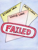 Conceptual illustration, illustrating failed loans