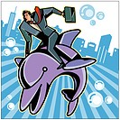 Businessman riding on fish