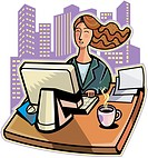 Young businesswoman working on desktop pc