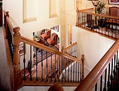 High angle u shaped staircase with railing