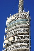 Telecommunication tower (1992) in Collserola by architect Norman Foster, Barcelona. Catalonia, Spain