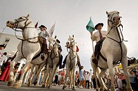 Procession during annual gipsy pilgrimage at Saintes-Maries-de-la-Mer, Camargue, France