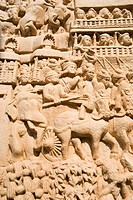 Sculptures carved on a wall, Bhopal, Madhya Pradesh, India