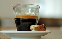 Espresso with piece of cake (thumbnail)