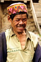 Man wearing a Kullu cap Malana, Himachal Pradesh, India